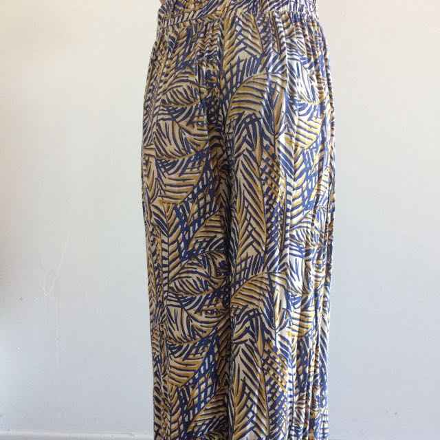 Valley Girl Navy and Yellow High Waisted Pants