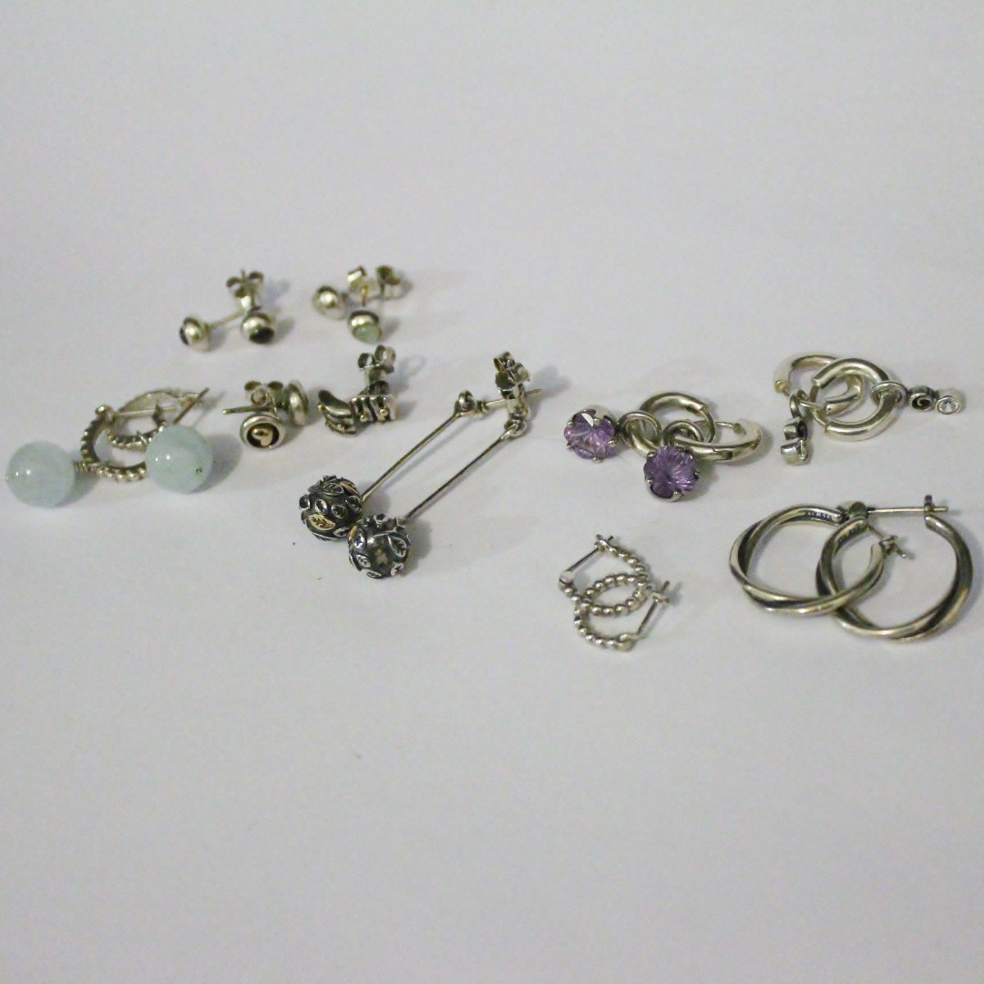 Various Pandora Earrings and charms