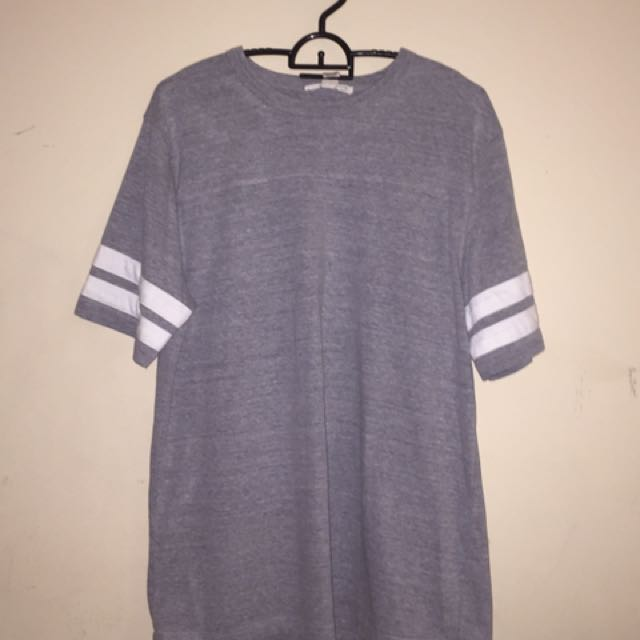 White Striped Sleeve Grey T-Shirt
