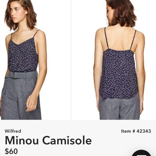 ⭐️ Wilfred / Aritzia $60 100% Silk Black Floral Minou Camisole