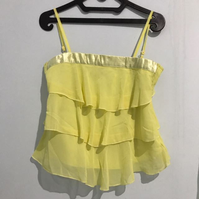 yellow top ruffled