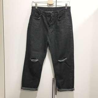 黑色 牛仔長褲 破褲 割破 男友褲