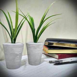 Modern Concrete Mini Vase with green grass for decor