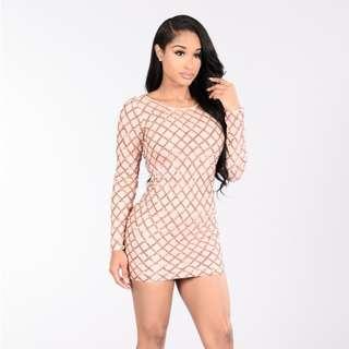 Gold / Nude Fashion Nova Sequin Dress