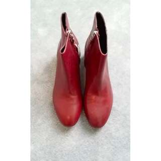 ZARA – BURGUNDY LEATHER ANKLE BOOT (SIZE 38) BRAND NEW