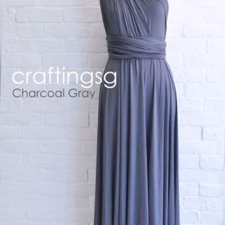 Charcoal Grey Convertible Bridesmaid Dress