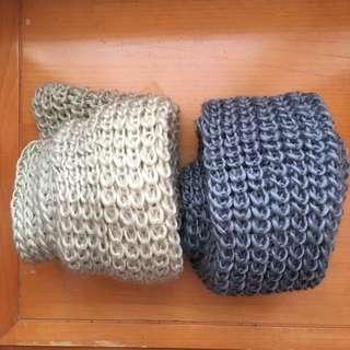 Beige And Dark Grey Knit Infinite Scarves