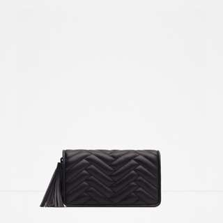 ZARA – BLACK TASSEL QUILTED CROSSBODY BAG (WORN ONCE)