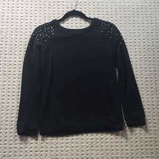 Black Sweater With Studs On Shoulder