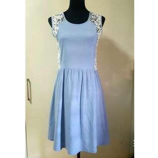 Apple & Eve Chambray & Lace Dress