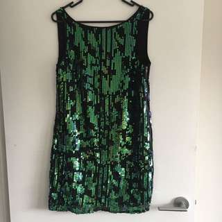 Portmans Sequin Dress - Green