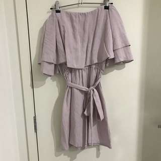 DISSH OFF THE SHOULDER BLUSH PINK DRESS