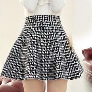 Houndstooth Pattern A Line Skirt