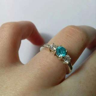 'Prouds' silver aquamarine ring. free postage