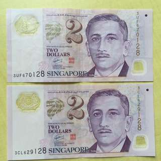Two $ 2 Note End With 128