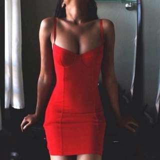 Red bodycon dress.