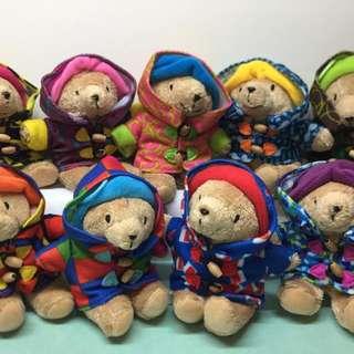 7-11 2010年版 全套9隻可愛柏靈頓寶寶熊毛公仔 Paddington Bear whole set