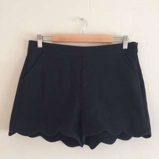 High Waist Shorts with Scallop Hem