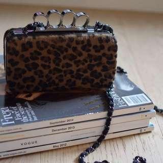New Leopard Print Faux Fur Bag/Clutch - Betts