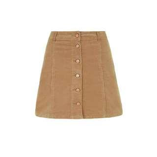 BNWT Button Down Camel Skirt