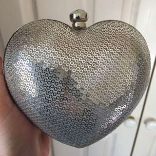 Silver Heart Sequin Clutch With Diamanté