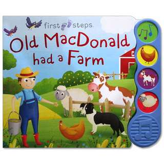 (SND-FSTEP-4BTN-OLDM) First Steps Old MacDonald had a Farm Sound Board Book with 4 sounds