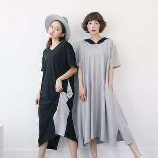 轉賣正韓AromaStudio休閒特殊弧線開衩下擺連帽洋裝