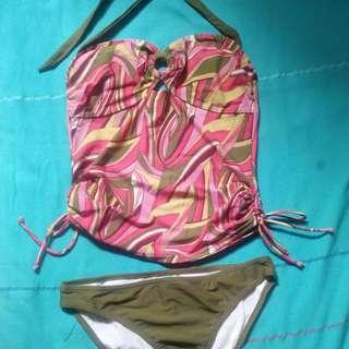 Pink And Green Tankini Set