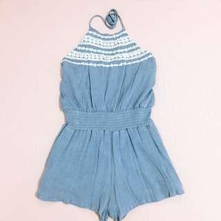 削肩綁帶棉麻淺藍連身褲