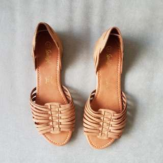 Brand New Sportsgirl Real Leather Tanned Summer Sandals EU41