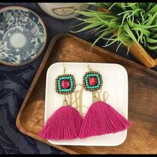 Tassle earrings - turquiose/fuchsia
