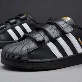 (size - us2) Adidas superstar velcro black