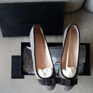 Brand New David Lawrence Womens Ballet Flats Grey Black Bow Sz 40