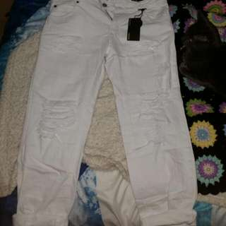 White Relaxed Ripped Jeans