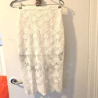 White lace midi skirt - Topshop