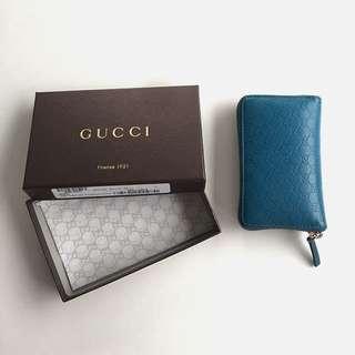 Gucci 水藍金拉鍊分層零錢包
