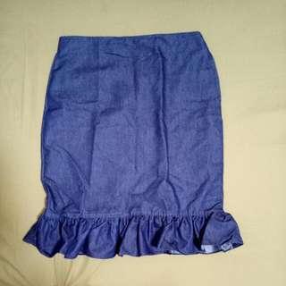 Denim Skirt Side Zipper