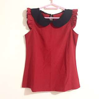 Black Collar Red Top (Harga Nego)