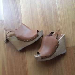 Sportsgirl Wooden Heel Wedges Clogs