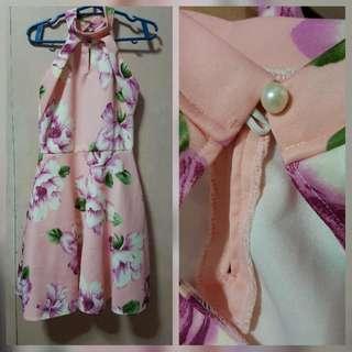 Peach Floral Halter Dress