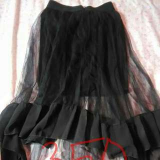 black long back sheer skirt
