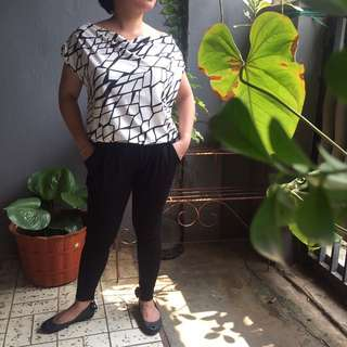 Jumpsuit Black N White