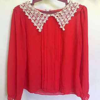 Red Orange Chiffon Long sleeves with knitted collar