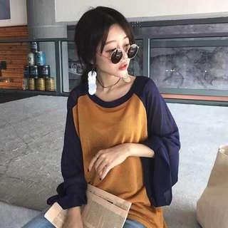 韓 撞色薄款針織寬鬆防曬衫 上衣(4色)