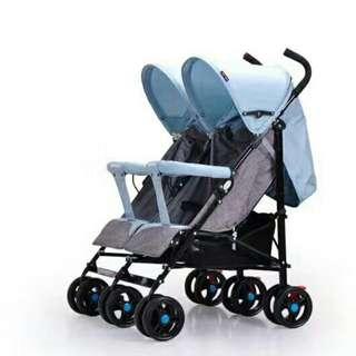 雙胞胎推車 雙人可平躺推車 嬰兒推車 傘車
