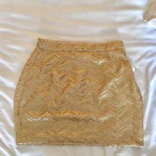 Tobi Gold Sequence Pencil Skirt