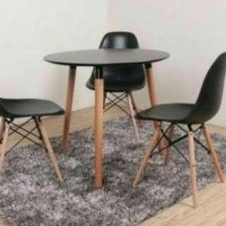 """Modern Black Table With 3 Eames """"Inspired"""" Chairs"""