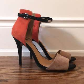 Zara Collection coral and tan ankle strap heels, lightly worn, still great condition, very comfortable, size 39 or 8.5