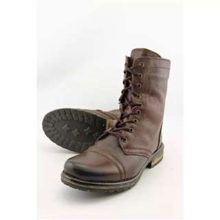 Deep Brown Leather Steve Madden Military Lace Up Boots