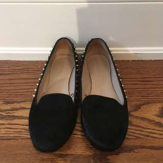 Zara black cowhide studded flats, barely worn, size 39 or 8.5